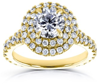Annello by Kobelli 14k Yellow Gold 2 1/10ct TDW Domed Cluster Diamond Double Halo Ring