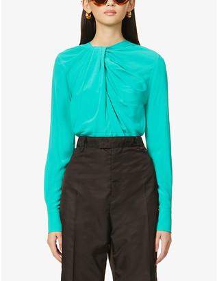 Victoria Beckham Scoop-neck twist-knot silk-crepe shirt