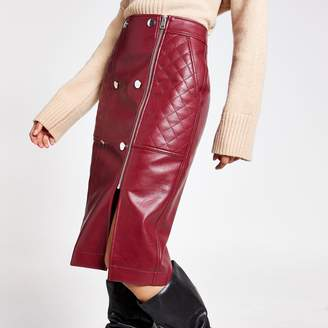 River Island Womens Dark Red quilted faux leather midi skirt