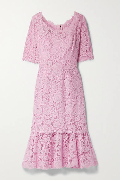 Dolce & Gabbana Tiered Corded Lace Midi Dress - Pink