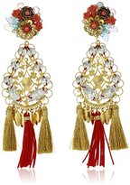 Mercedes Salazar Gold Tassel Pom Pom Floral Clip-On Earrings