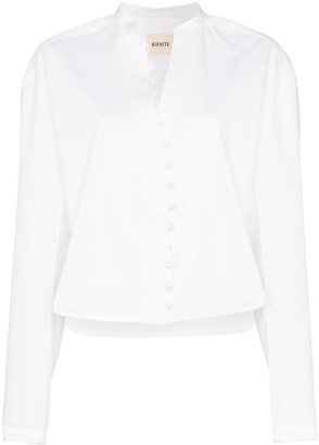 KHAITE Charlotte Mandarin-collared shirt
