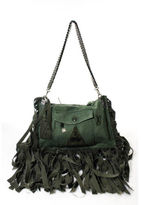 JANE AUSTEN Green Denim Silver Tone Fringed Patched Crossbody Messenger Handbag