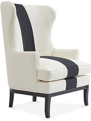 Kim Salmela Calhoun Wingback Chair - Black/Ivory Stripe