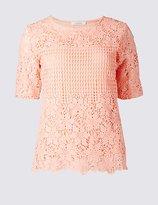 Classic Pure Cotton Border Lace Round Neck T-Shirt