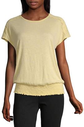 Alyx Womens Round Neck Short Sleeve Knit Blouse