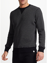 Edwin Waffle Striped Knit Jumper, Dark Grey/black