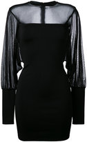 Balmain sheer panel fitted dress - women - Polyamide/Spandex/Elastane/Viscose - 42