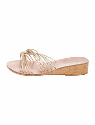 Ancient Greek Sandals Leather Slides Gold