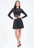 Bebe Lace Panel Flared Dress