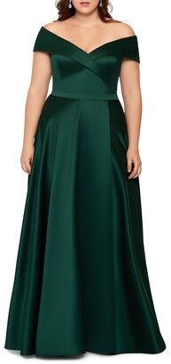 Xscape Evenings Off the Shoulder Satin A-Line Gown
