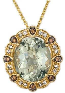 """LeVian Le Vian Mint Julep Quartz (4 ct. t.w.) & Diamonds (1/5 ct. t.w.) 20"""" Pendant Necklace in 14k Gold"""