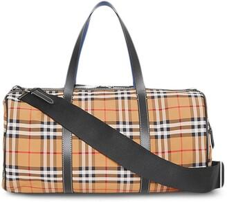Burberry Check Leather Barrel Bag