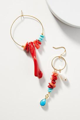Ayana Designs Coral Hoop Earrings By Ayana Designs in Orange