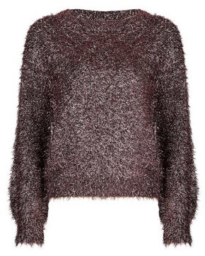 Dorothy Perkins Womens Petite Rose Gold Tinsel Jumper, Rose Gold