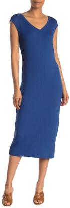 Philosophy di Lorenzo Serafini V-Neck Cap Sleeve Knit Midi Dress