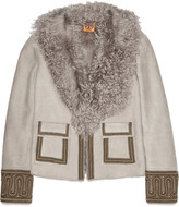 Tory Burch Sylvia embellished shearling jacket