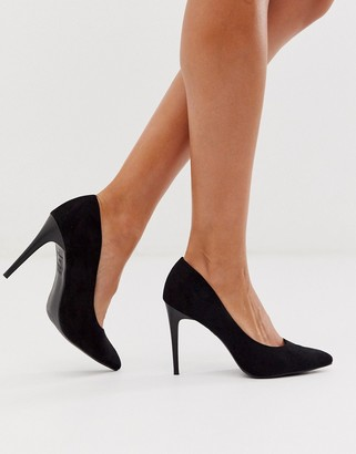 New Look faux suede court shoes in black