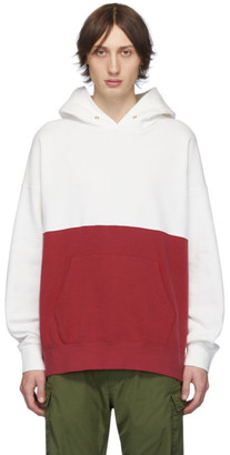 Visvim White and Red Switch Jumbo Hoodie