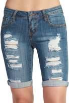 TheMogan Women's Vintage Distressed Ripped Jean Bermuda Denim Shorts, Medium, S