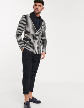 Devils Advocate skinny fit double breasted striped blazer