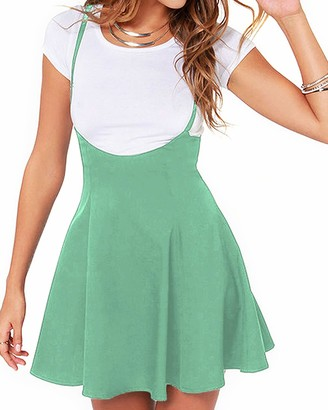 YOINS Women's Casual Suspender Skirts Basic High Waist Flared Solid Mini Skater Skirt Black XL