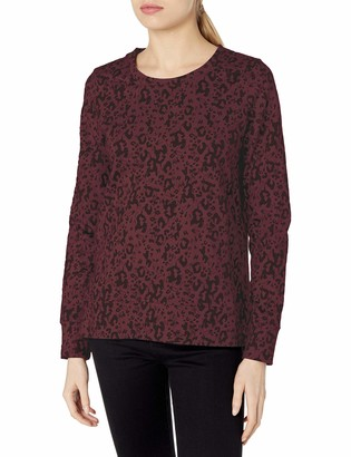 Andrew Marc Women's Printed French Terry Long Sleeve high-Low Crewneck Pullover with Side Vent