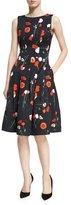 Oscar de la Renta Poppy-Print Jacquard A-Line Dress