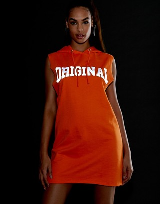 Asos Design DESIGN reflective print hoodie sweat dress-Orange