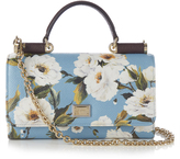 Dolce & Gabbana Mini Von peony-print leather cross-body bag