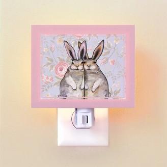 Oopsy Daisy Fine Art For Kids Bunny Friends Floral by Eli Halpin Night Light