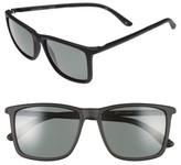 Le Specs Women's Tweedledum 55Mm Polarized Sunglasses - Matte Black