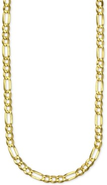 """Italian Gold Figaro Link 28"""" Chain Necklace in 14k Gold"""