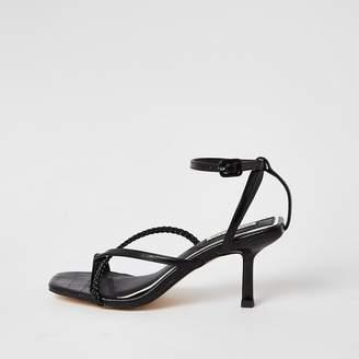 River Island Black square toe midi heel sandals