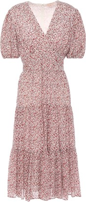 Tory Burch Gathered Floral-print Cotton And Silk-blend Midi Dress