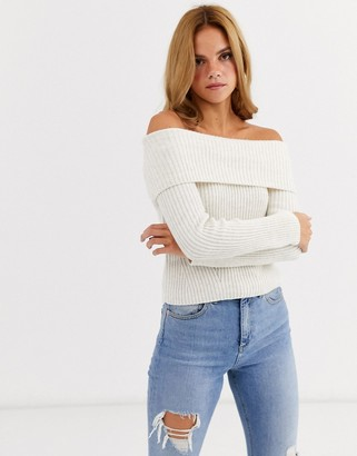 Miss Selfridge bardot sweater in cream two