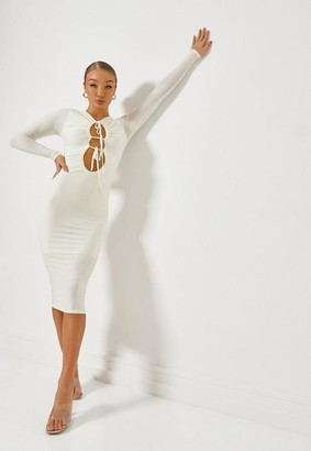 Missguided Cream Ruched Front Double Cut Out Midaxi Dress