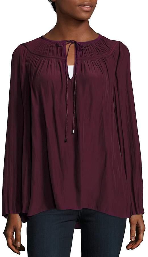 Ramy Brook Women's Amelia Pleated Long-Sleeve Top