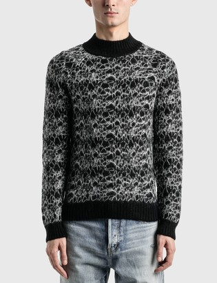 Saint Laurent Wool Spider-Web Jacquard Sweater