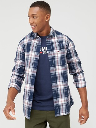 Tommy Jeans Essential Check Long Sleeve Shirt - Twilight Navy