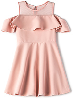Bardot Junior Cold Shoulder Ruffle Dress in Pink