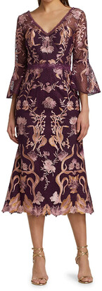 Marchesa Notte Flutter Sleeve V-Neck Embroidered Guipure Lace Dress