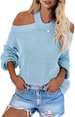 CORAFRITZ Casual Loose Cold Shoulder Jumper Long Sleeve Backless Cross Ribbed Knit Sweater Winter for Women Sky Blue