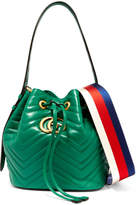 Gucci Gg Marmont Quilted Leather Bucket Bag - Green
