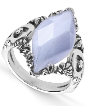 Marquis Carolyn Pollack Blue Lace Agate (11x23mm Ring in Sterling Silver