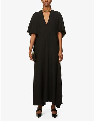 Valentino V-neck silk-crepe gown