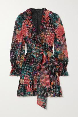 Dundas Ruffled Wrap-effect Metallic Fil Coupe Silk-blend Georgette Mini Dress - Black