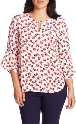 Chaus Peony Print Bell Sleeve Stretch Crepe Top