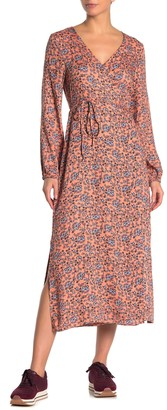 Cotton On Floral Print Long Sleeve Midi Wrap Dress