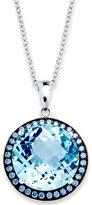 Sterling Silver Necklace, Blue Swarovski Zirconia (5/8 ct. t.w.) and Blue Topaz (11 ct. t.w.) Round Halo Pendant